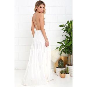 Lulu's Coast is Clear Ivory Backless Maxi Dress